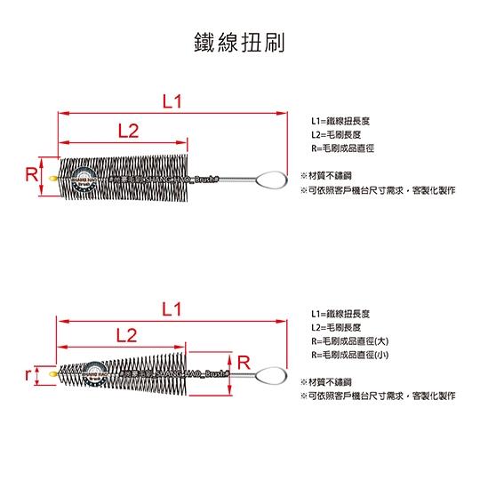 鐵線扭刷-正側面示意圖